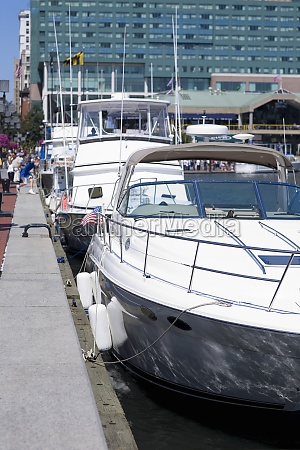 motorboats moored at a harbor inner