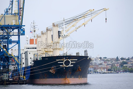 industrial ship moored at a harbor