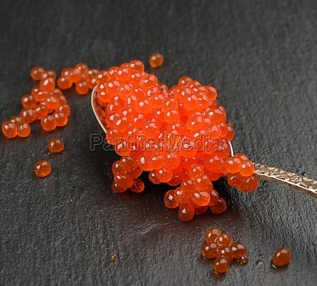 red caviar of chum salmon in