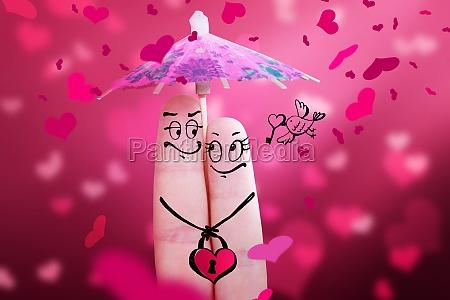 happy finger couple in love celebrating