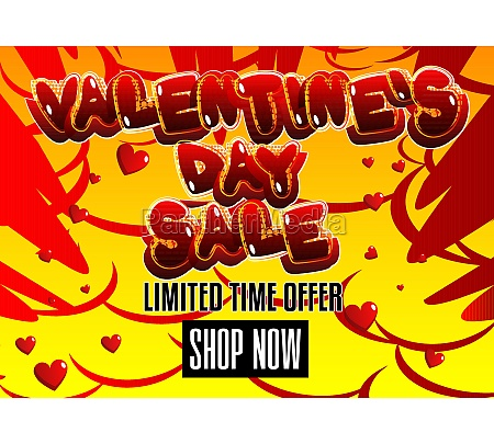 comic book valentines day sale poster
