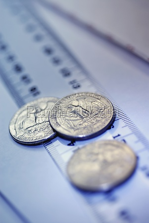 closeup of three us coins on