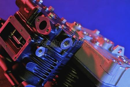 closeup of an engine block