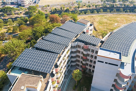 aerial view of solar panels on