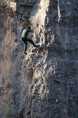 climber in the natural park of