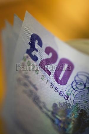 closeup of twenty euro banknotes