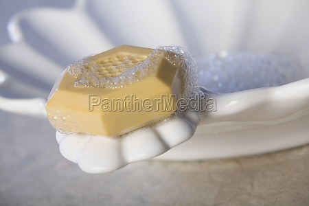 bar of soap on a soap