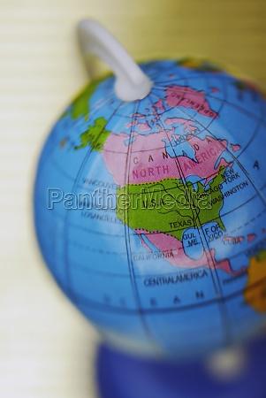 closeup of a globe