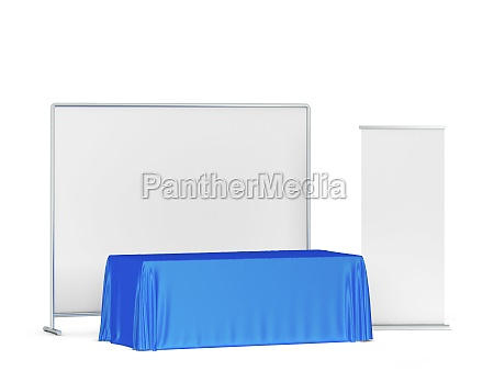 blank tradeshow tablecloth with roll up
