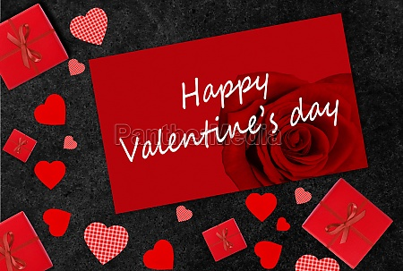 valentines day greeting card with red