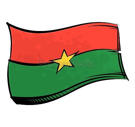 painted burkina faso flag waving in