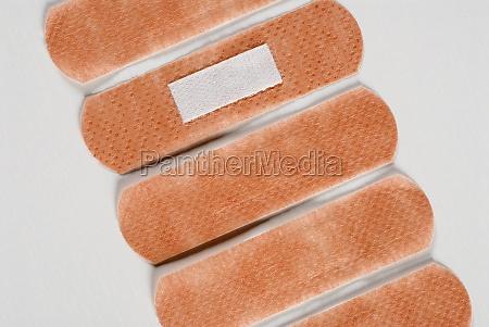 closeup of five adhesive bandages