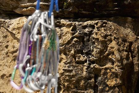close up of climbing equipments