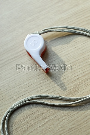 close up of a whistle with