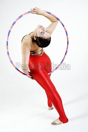 rear view of a female gymnast