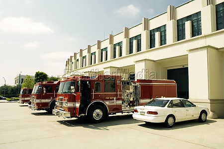 side profile of fire engines at