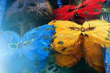 close up of multi colored masquerade