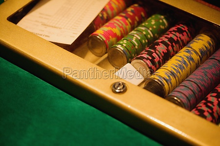 high angle view of gambling chips