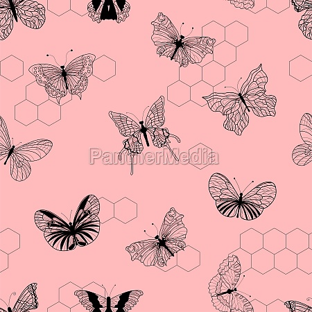 butterfly pattern pink background vector illustration