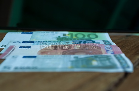 group of euro banknotes