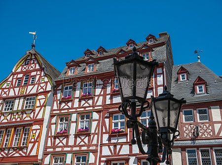 half timbered houses with lantern on