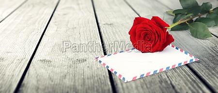 rose flower and vintage love letter