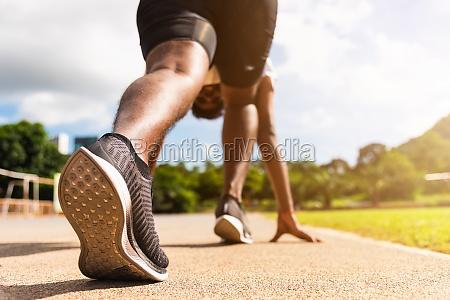 sport runner black man active ready