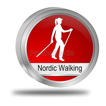 nordic walking button red 3d