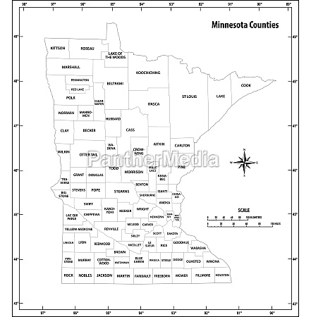 minnesota state outline administrative map in