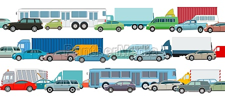rush hour cars in traffic jam