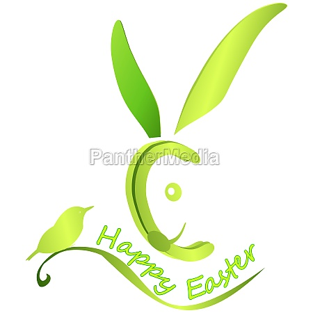 easter bunny wishing happy easter green