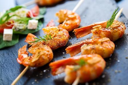 roasted shrimp starter on skewer