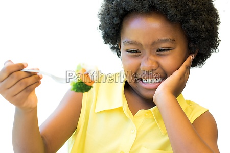 close up of african girl refusing