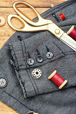 fabrics and sewing tools