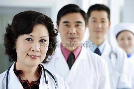 portrait of three doctors with a