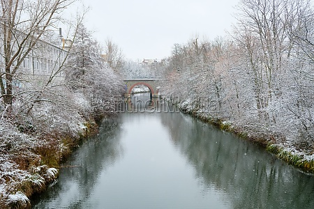 the snow covered harbour in leipzigs