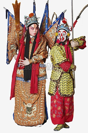 two male chinese opera performers gesturing