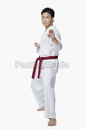young man practicing karate