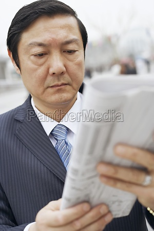 close up of a businessman reading