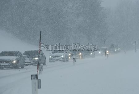 traffic jam in the winter