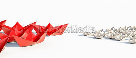 groups of origami paper boats face