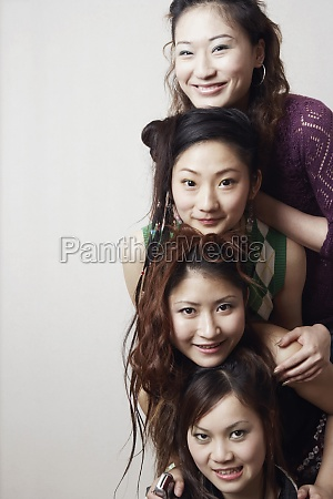 portrait of three young women and