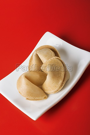 close up of fortune cookies in