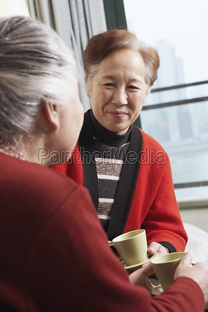 mature woman facing a senior woman