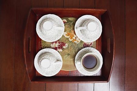 high angle view of tea cups