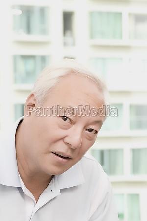 portrait of a mature man thinking