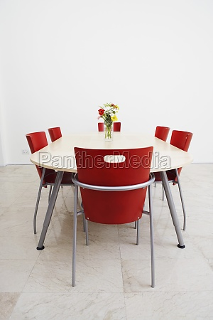 table and chairs in a conference