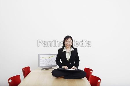 portrait of a businessman sitting cross