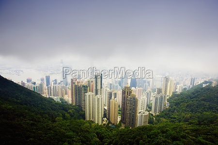 aerial view of skyscrapers in a