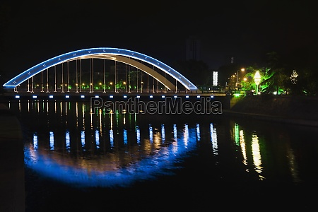 reflection of a bridge in a